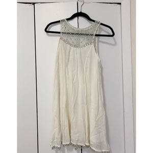 Urban Outfitters White Dress with Rhinestone Neck
